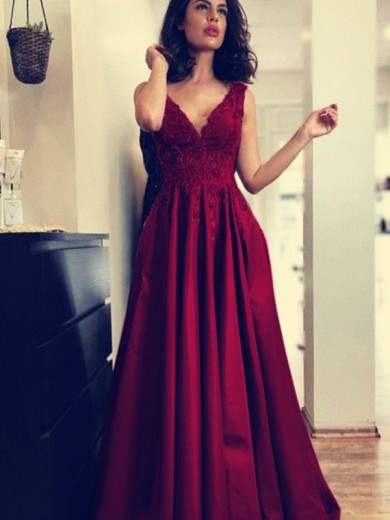 A-Line/Princess V-neck Sleeveless Sweep/Brush Train Applique Ruched Satin Dresses