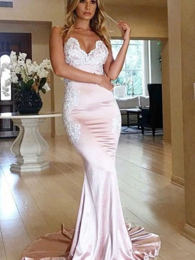 Trumpet/Mermaid Sweetheart Sleeveless Applique Sweep/Brush Train Satin Dresses