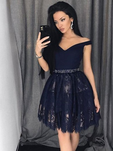 A-Line/Princess Off-the-Shoulder Sleeveless Satin Lace Beading Short/Mini Dresses