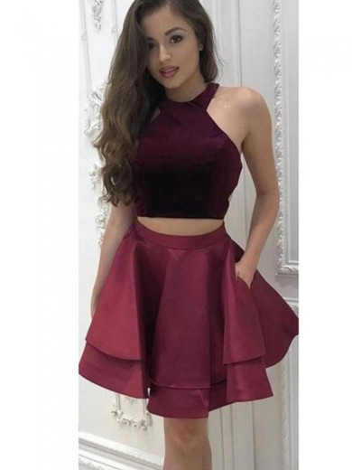 A-Line/Princess Sleeveless Halter Satin Ruffles Two Piece Short/MiniDress