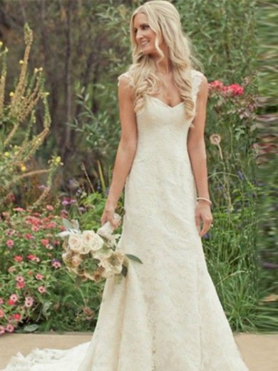 Trumpet Sleeveless Sweep/Brush Train V-neck Lace Wedding Gowns