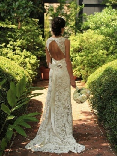 Column Sleeveless Lace V-neck Sweep/Brush Train Bridal Gowns