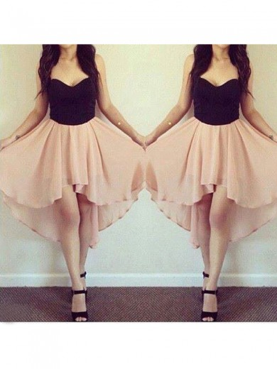 A-Line Sleeveless Sweetheart Chiffon Short/Mini Homecoming Dresses