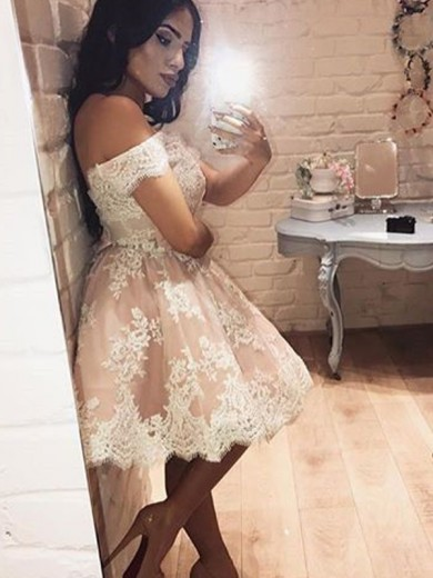 A-Line Sleeveless Off-the-Shoulder Lace Short/Mini Homecoming Dresses