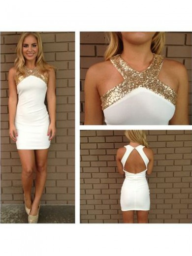 A-Line Sleeveless Halter Beading Satin Short/Mini Prom Dresses