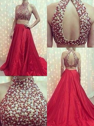 A-Line/Princess High Neck Sleeveless Satin Sweep/Brush Train Beading Two Piece Dresses