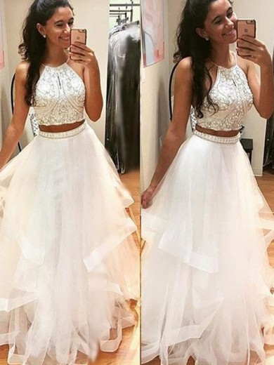 A-Line Sleeveless Halter Floor-Length Beading Tulle Dress