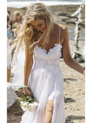 Sheath/Column Spaghetti Straps Sweep/Brush Train Chiffon Beach Wedding Dress With Applique