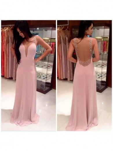 A-line/Princess Straps Sleeveless Beading Floor-length Chiffon Prom Dress