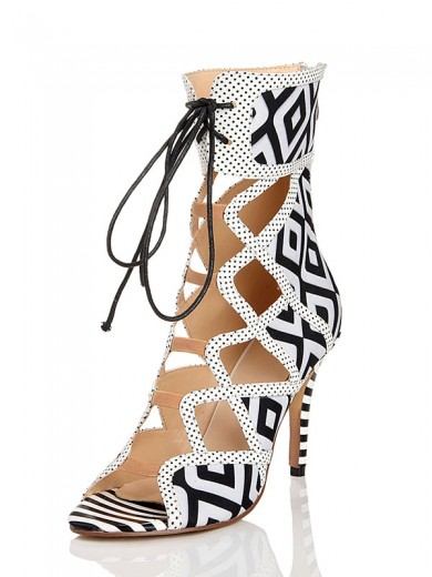 Black and white plaid pattern Flock Hollow Sandals Boots