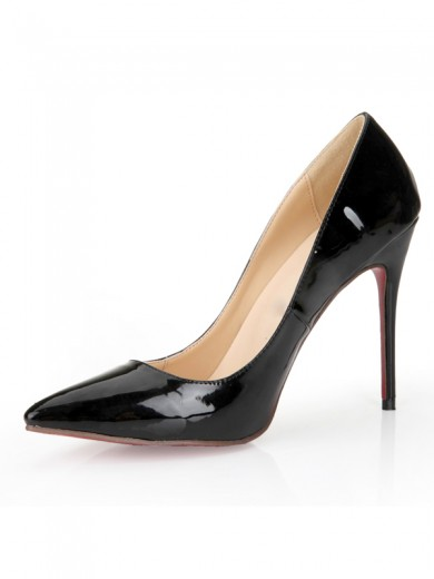 Black Fashion Patent Leather Thin Heels Pointed Toe Shoes