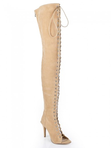 Suede Leather Boots With Lace Up S5LSDN1204LF