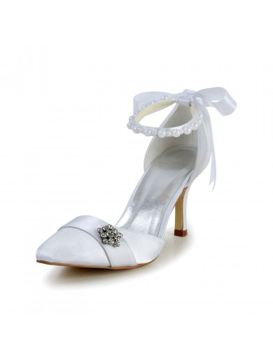 Satin Spool Heel Closed Toe Wedding Shoes With Imitation Pearl Ribbon Tie
