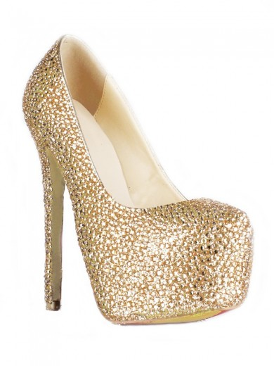 Sheepskin Rhinestones Rubber High Heels