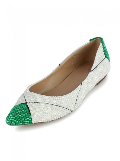 Patent Leather Pearls Flats