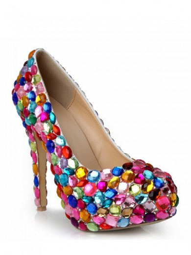 Rhinestones Rubber Leatherette High Heels