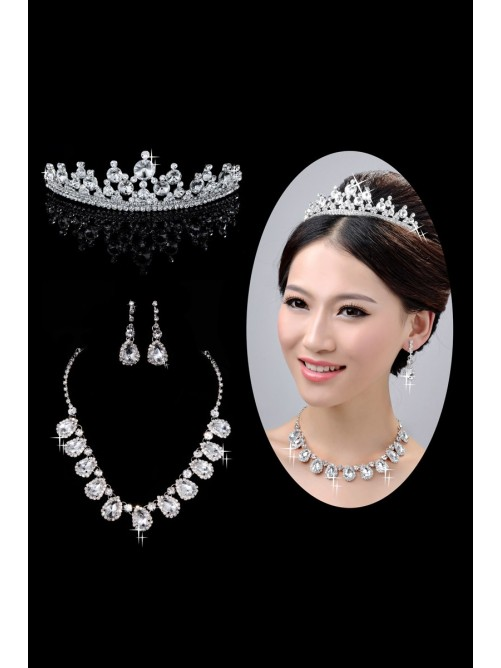 Hot Sale Alloy Clear Wedding Headpieces Necklaces Earrings Set