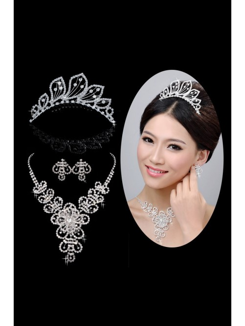 Hot Sale Beautiful Alloy Clear Wedding Headpieces Necklaces Earrings Set