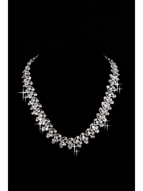 New Style Beautiful Alloy Clear Crystals Wedding Headpieces Necklaces Earrings Set