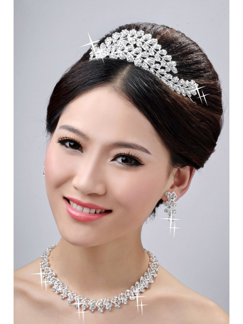 New Style Beautiful Alloy Clear Wedding Headpieces Necklaces Earrings Set