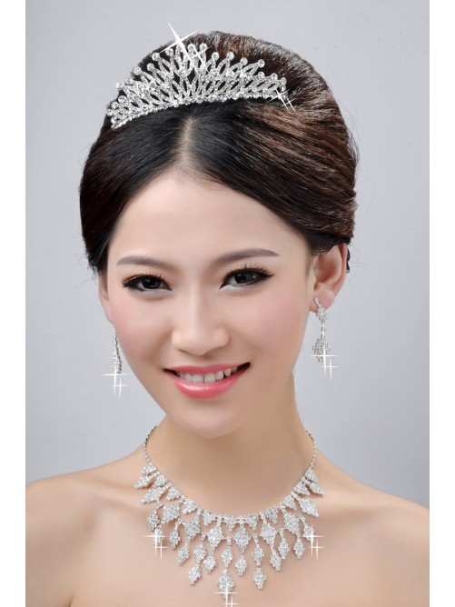 New Style Charming Alloy Clear Wedding Headpieces Necklaces Earrings Set