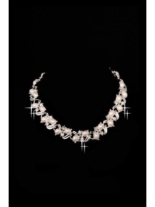 New Style Nice Alloy Clear Pearls Wedding Headpieces Necklaces Earrings Set