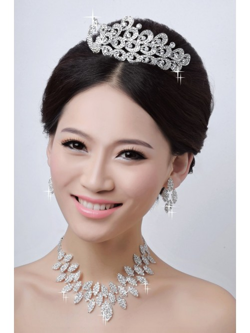 Charming Alloy Clear Wedding Headpieces Necklaces Earrings Set