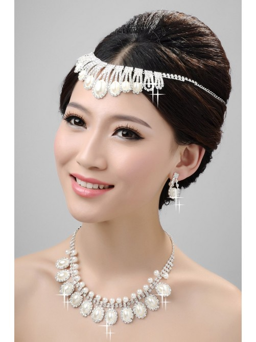 Nice Alloy Clear Pearls Wedding Headpieces Necklaces Earrings Set