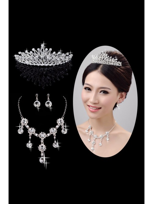 Very Nice Alloy Clear Crystals Wedding Headpieces Necklaces Earrings Set