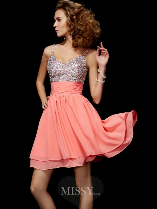 A-Line Mini V-neck Chiffon Sleeveless Homecoming Dress