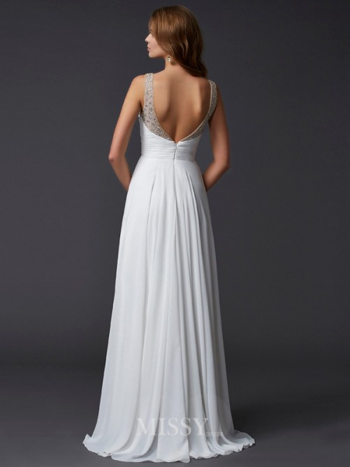 Sheath Sleeveless Straps Chiffon Pleats Floor-Length Dress