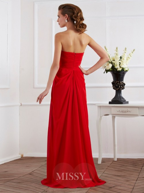 Sheath Sleeveless Strapless Chiffon Floor-Length Pleats Dress