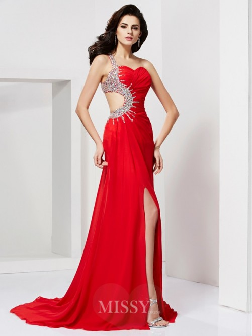 Mermaid Beading Sleeveless Sweetheart Sweep/Brush Train Chiffon Dress