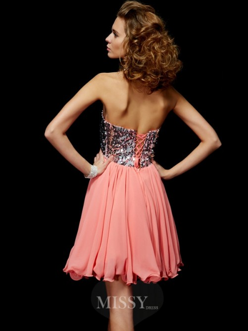 A-Line Sweetheart Sleeveless Beading Mini Chiffon Homecoming Dress