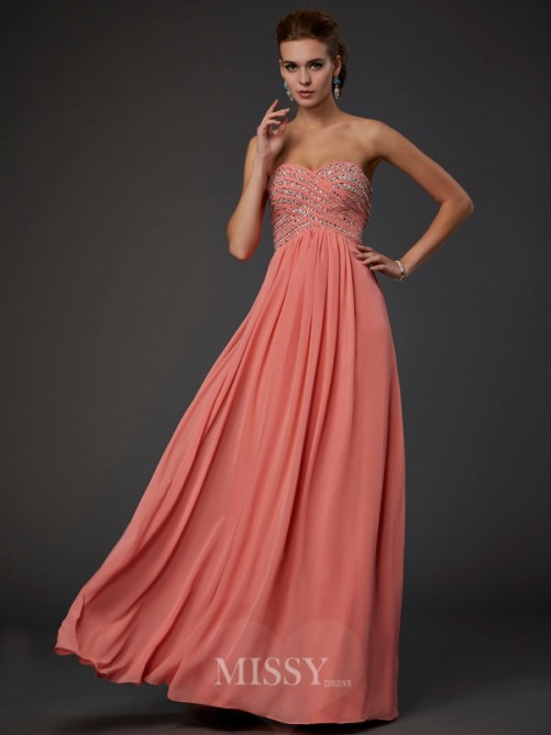 A-Line Sleeveless Sweetheart Beading Floor-length Chiffon Dress