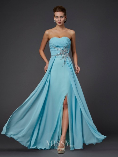 Sheath Floor-Length Sweetheart Sleeveless Beading Chiffon Dress