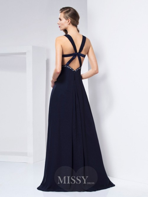 A-Line Sleeveless V-neck Ruffles Floor-length Chiffon Dress