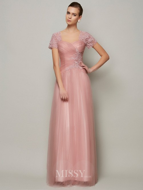 A-Line Short Sleeves Sweetheart Floor-Length Satin Beading Dress