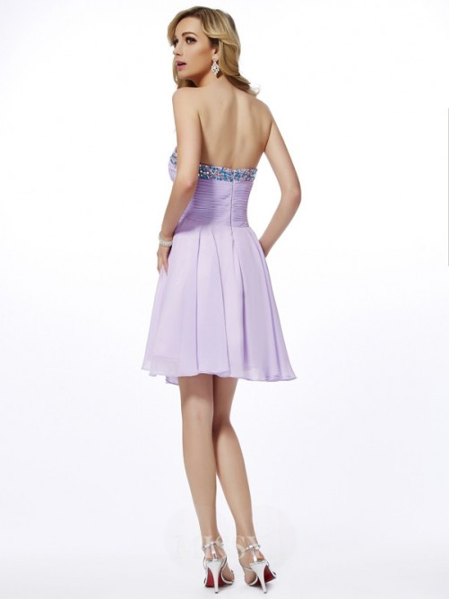 Sweetheart Sheath Beading Sleeveless Chiffon Mini Dress