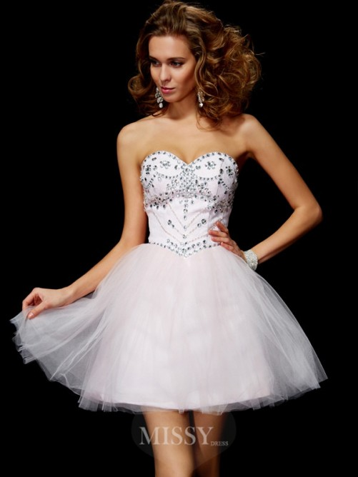 Beading A-Line Sweetheart Sleeveless Mini Organza Dress