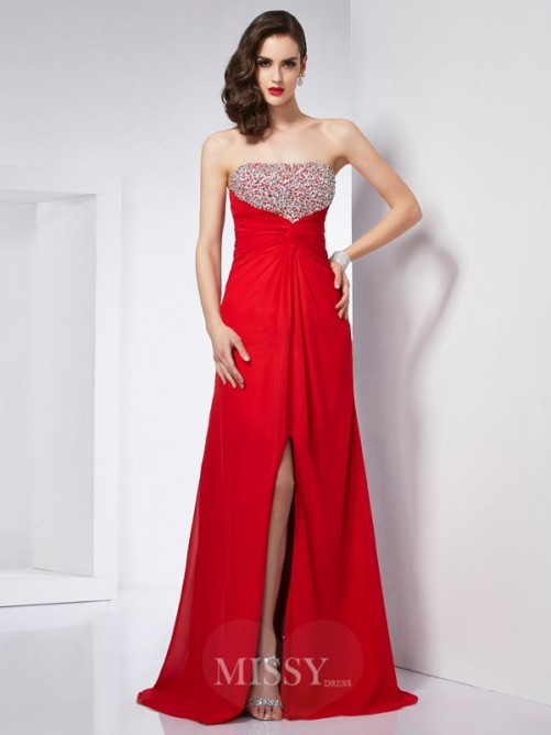 A-Line Strapless Sleeveless Beading Chiffon Floor-Length Dress