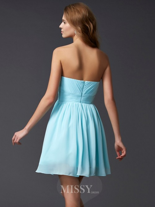 A-Line Mini Chiffon Beading Sweetheart Sleeveless Dress