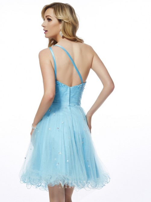 A-Line One-Shoulder Sleeveless Beading Mini Organza Dress