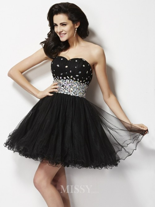 Beading A-Line Sleeveless Sweetheart Sequin Mini Elastic Woven Satin Dress