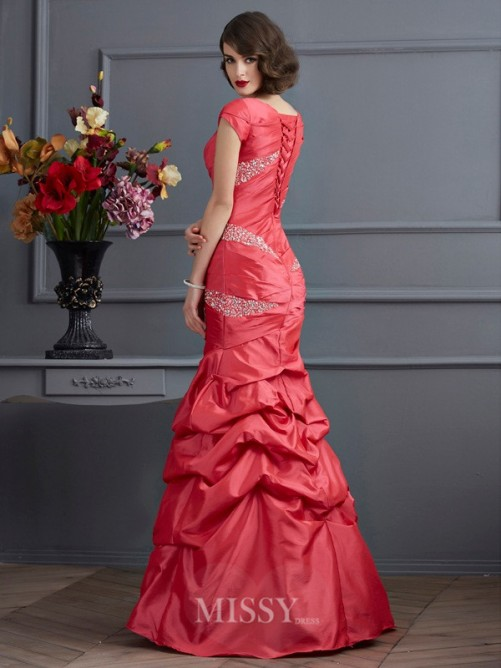 Mermaid Scoop Short Sleeves Beading Floor-Length Taffeta Dress