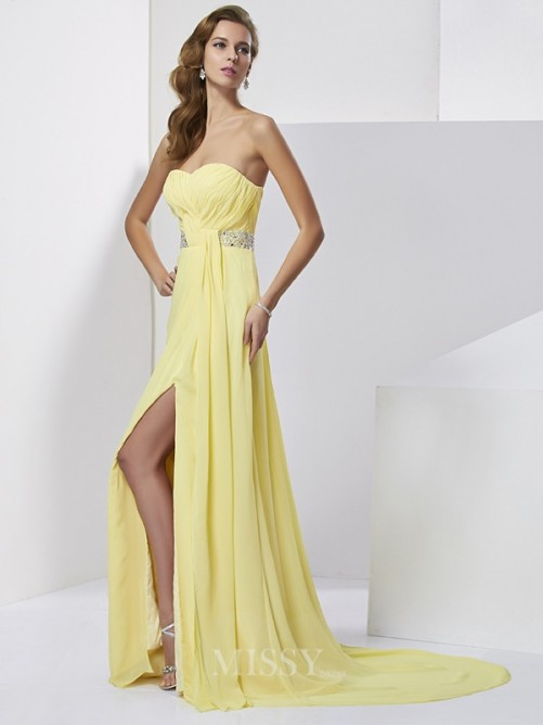 Sheath Beading Sweetheart Sleeveless Sweep/Brush Train Chiffon Dress
