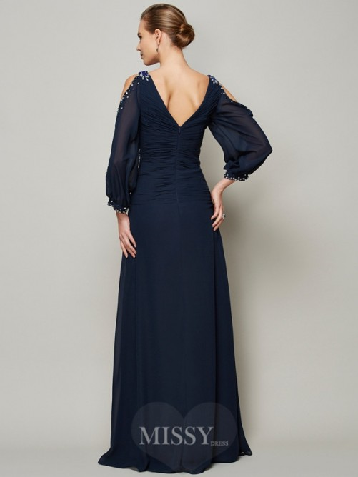A-Line V-neck Beading Long Sleeves Chiffon Dress