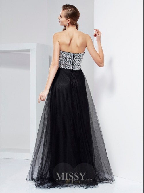 A-Line Floor-Length Strapless Beaded Elastic Woven Satin Dress