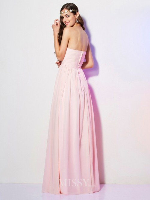 A-Line Sweetheart Pleats Chiffon Sleeveless Floor-Length Dress