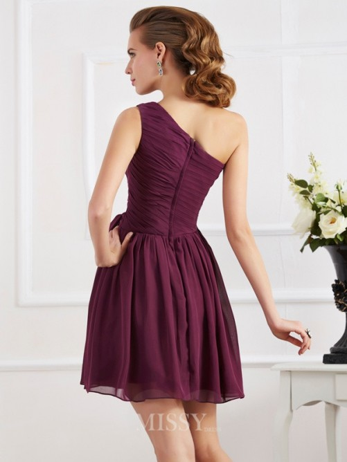 A-Line Sleeveless One-Shoulder Pleats Mini Chiffon Dress